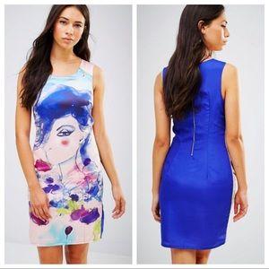 ASOS Lavand Watercolor Print Shift Dress NWT